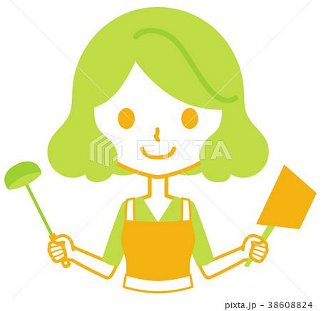 鍋とお玉を持つ女性 38608824
