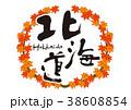 北海道 紅葉 筆文字 秋 フレーム 38608854