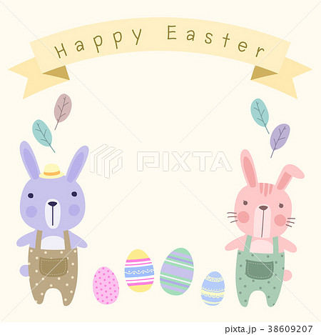 happy easter card template with couple bunny のイラスト素材