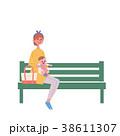 ベンチに座る 親子 イラスト 38611307