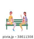 ベンチに座る 親子 イラスト 38611308