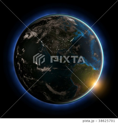 America sunset 3d rendering planet 38625701