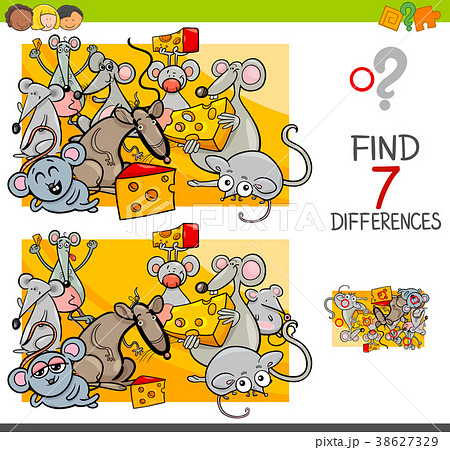 find differences with mice animal charactersのイラスト素材 38627329