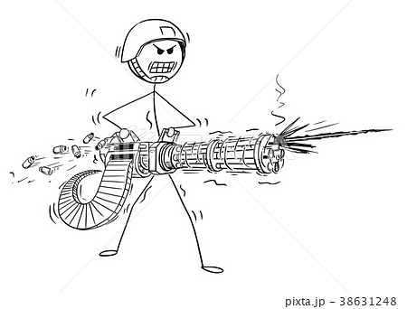 Cartoon of Soldier Shooting From Rotary Machine 38631248