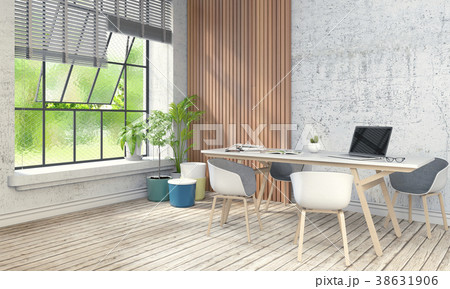 Interior room working area and computer. 3d render 38631906