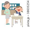 授業参観をする、お母さんと小学生女の子。 38635254