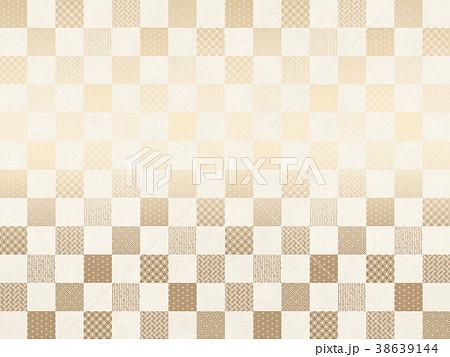 和柄 市松模様 シャンパンゴールド(和紙の風合い) 38639144