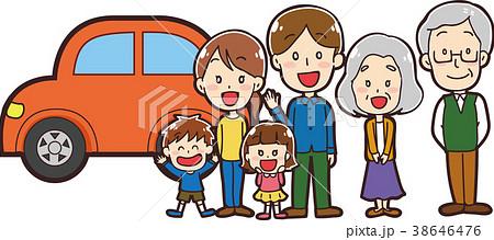 マイカーと三世帯家族のイラスト 38646476