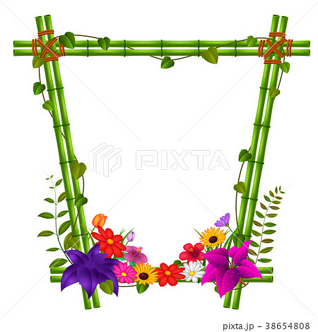 border templates with bamboo and flowersのイラスト素材 38654808
