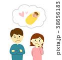 夫婦 男女 考えるのイラスト 38656183