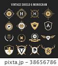 モノグラム シールド 盾のイラスト 38656786