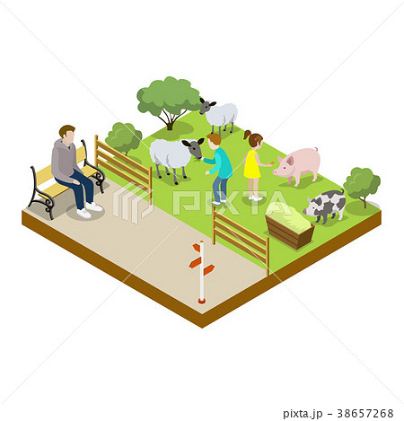 Cage with sheeps isometric 3D icon 38657268