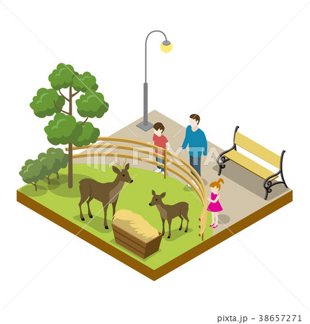 Cage with deers isometric 3D icon 38657271