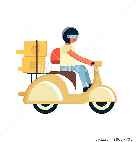 Courier with food boxes on scooter 38657706