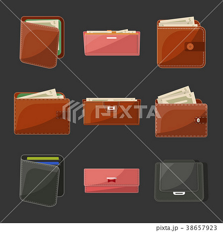 Various leather purses and wallets set 38657923