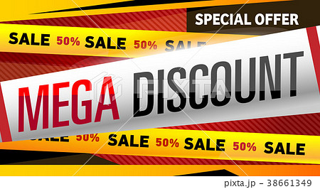 Mega discount banner in trendy style 38661349