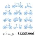 自転車 フラット 平のイラスト 38663996