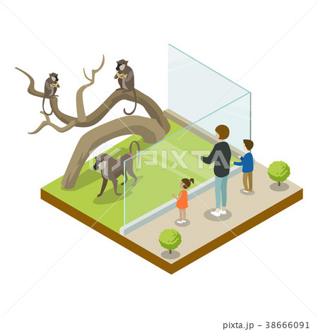 Cage with monkeys isometric 3D icon 38666091