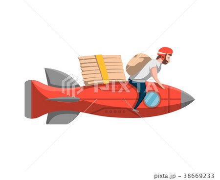 Courier with pizza boxes on rocket 38669233
