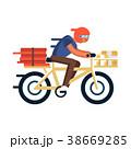 ピザ ピッツァ 自転車のイラスト 38669285