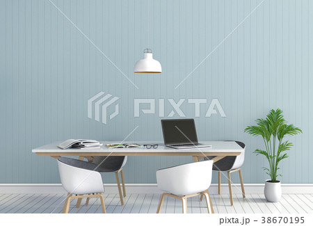 3D rendering interior  room with laptop computer  38670195