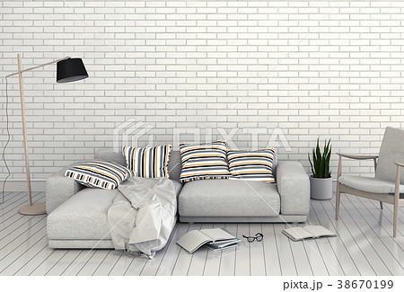 Living room interior in modern style, 3d render 38670199