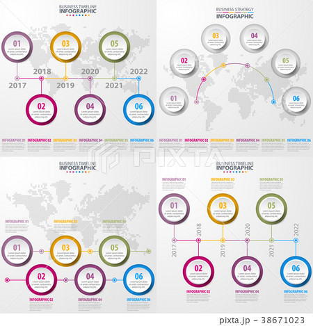 business timeline infographics design elementsのイラスト素材