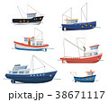 Fishing boats side view on white background 38671117