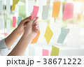 Creative business people reading sticky notes. 38671222