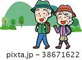 ハイキングに行くシニアカップルのイラスト素材 38671622