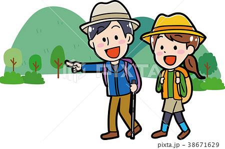 ハイキングに行くカップルのイラスト素材 38671629