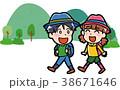 ハイキングに行く子供のイラスト 38671646