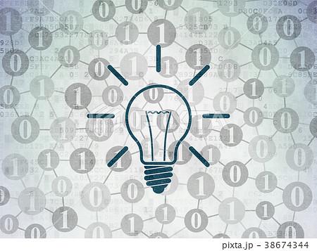 Finance concept: Light Bulb on Digital Data Paper 38674344