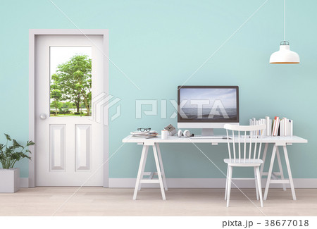 Interior room working area and computer. 3d render 38677018