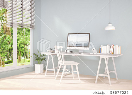 Interior room working area and computer. 3d render 38677022