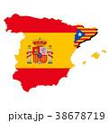 スペインとカタルーニャ地図と国旗 38678719