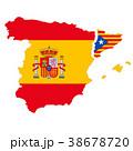 スペインとカタルーニャ地図と国旗 38678720