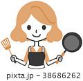 女性 料理 持つのイラスト 38686262