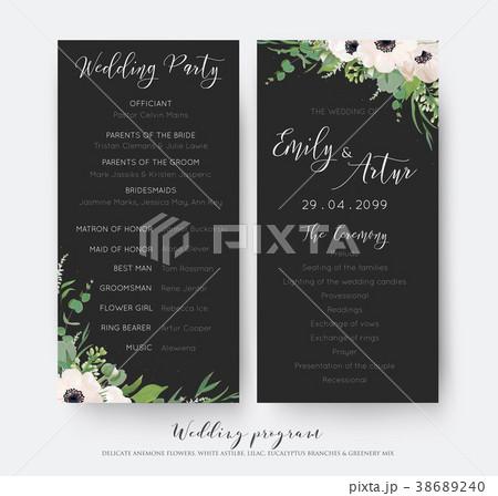 wedding ceremony and party program card designのイラスト素材