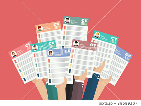 Hands holding cv resume documents 38689307