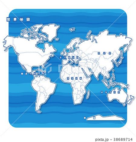 セカイ地図 白地図(日本語) 38689714