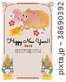 年賀状 年賀状テンプレート 猪のイラスト 38690392