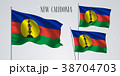 New Caledonia waving flag vector illustration 38704703