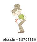 腹痛 女性 病気のイラスト 38705330
