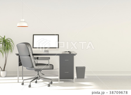 3D rendering interior  room with laptop computer  38709678