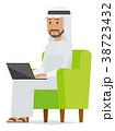 民族衣装を着たアラブの男性がソファーに座ってノートパソコンを操作している 38723432
