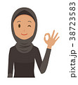 民族衣装を着たアラブの女性がオッケーマークを出している 38723583