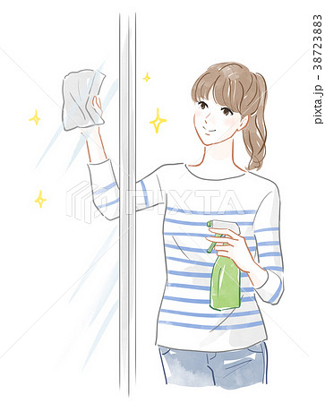 窓を磨く女性 38723883