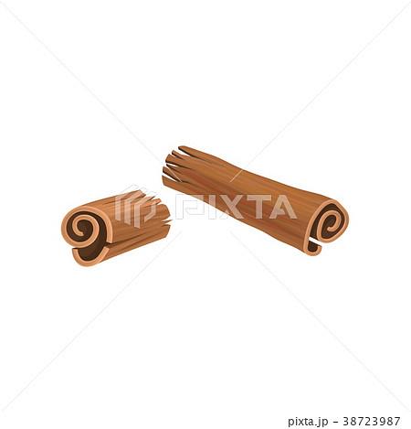broken stick of cinnamon aromatic spice used inのイラスト素材
