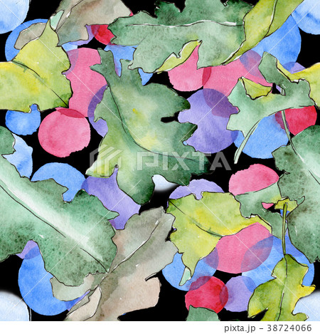 oak leaves pattern in a watercolor style のイラスト素材 38724066